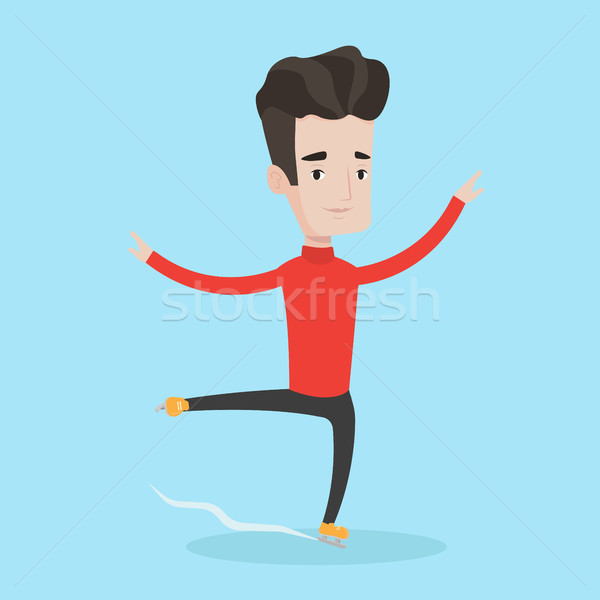 Male figure skater vector illustration. Stock photo © RAStudio