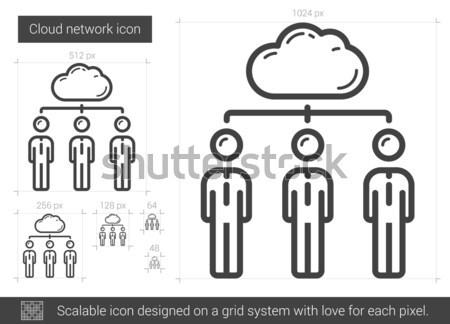 クラウドネットワーク 行 アイコン ベクトル 孤立した 白 ストックフォト © RAStudio
