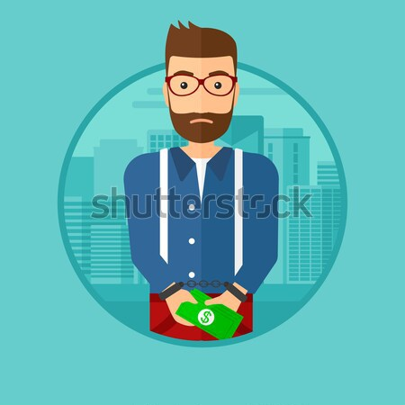 Woman handcuffed for crime vector illustration. Stock photo © RAStudio