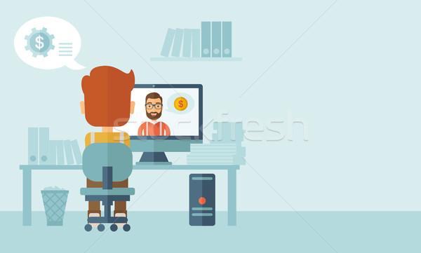 Twee mannelijke team zakenman vergadering binnenkant Stockfoto © RAStudio
