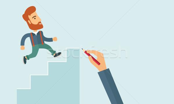 Hand drawn a man climbing Stock photo © RAStudio