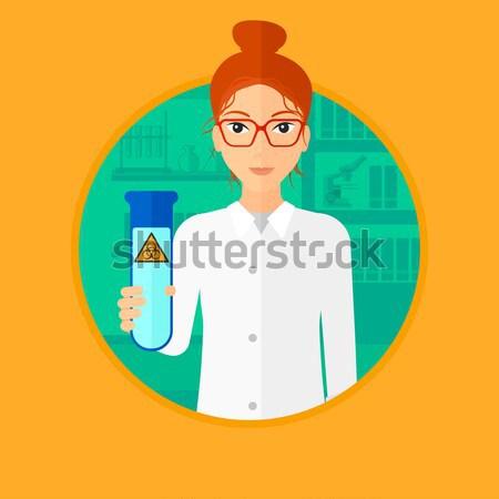 Scientist with test tube vector illustration. Stock photo © RAStudio