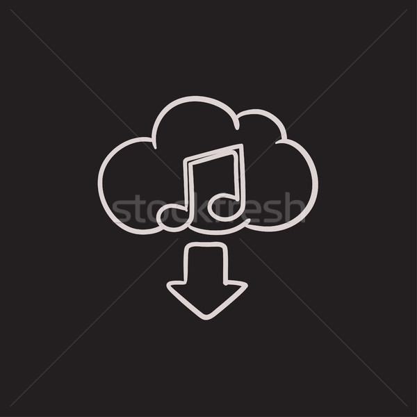 Téléchargement musique croquis icône vecteur isolé Photo stock © RAStudio