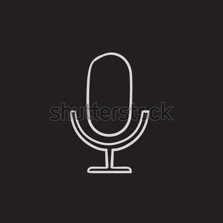 Retro microphone sketch icon. Stock photo © RAStudio