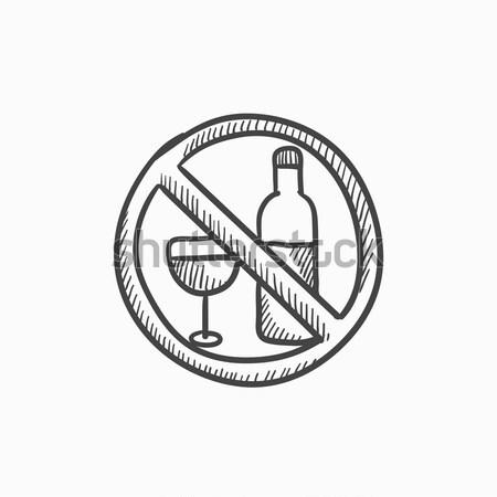 Stok fotoğraf: Alkol · imzalamak · kroki · ikon · vektör