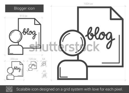 блоггер линия икона вектора изолированный белый Сток-фото © RAStudio