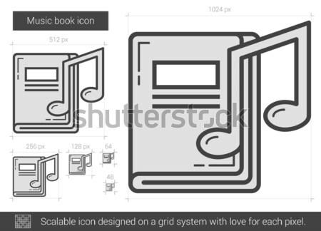 Muziek boek lijn icon vector geïsoleerd Stockfoto © RAStudio
