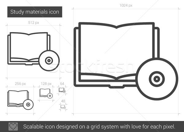 Tanulás anyagok vonal ikon vektor izolált Stock fotó © RAStudio