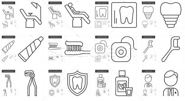 Stomatology line icon set. Stock photo © RAStudio