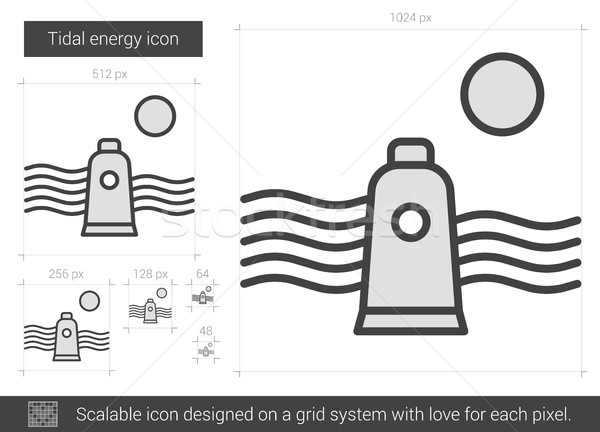 Tidal energy line icon. Stock photo © RAStudio