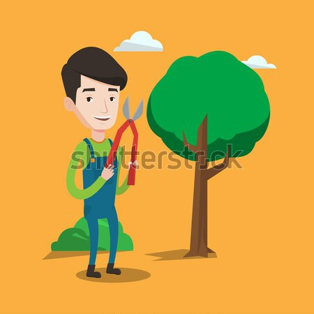Farmer with pruner in garden vector illustration. Stock photo © RAStudio