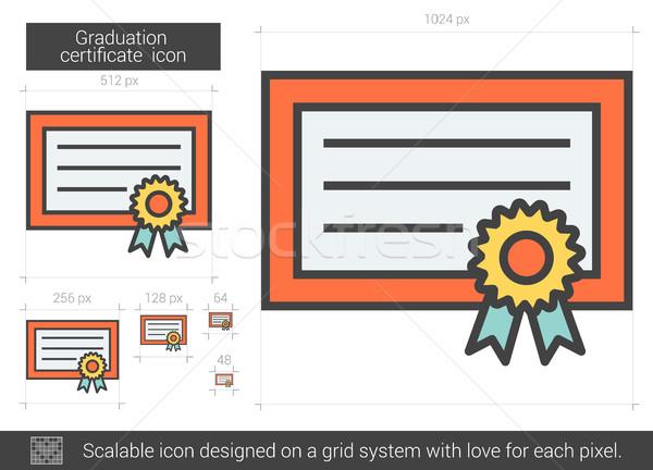 Graduação certidão linha ícone vetor isolado Foto stock © RAStudio