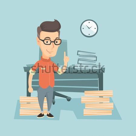 üzletember mutat felfelé mutatóujj áll iroda Stock fotó © RAStudio