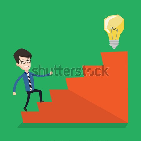 Businessman walking upstairs to the idea bulb. Stock photo © RAStudio
