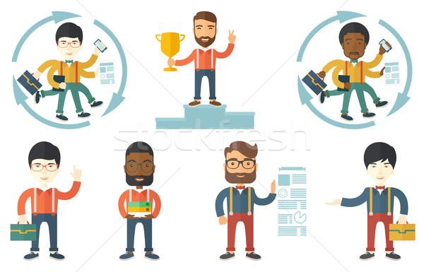 Vector establecer ilustraciones gente de negocios empresario muchos Foto stock © RAStudio