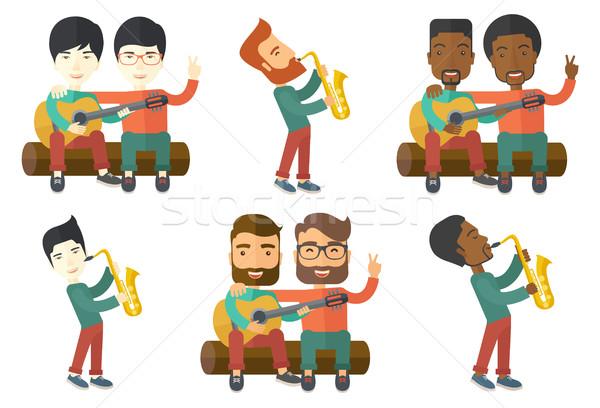 Vetor conjunto músicos satisfeito músico Foto stock © RAStudio