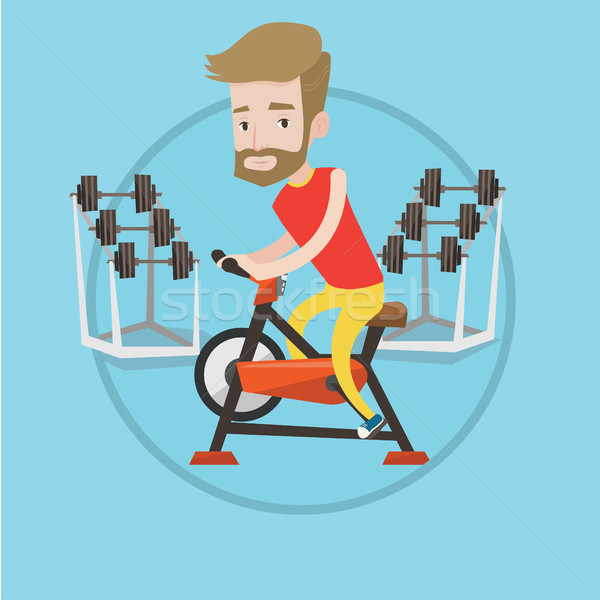Stock photo: Man riding stationary bicycle vector illustration.