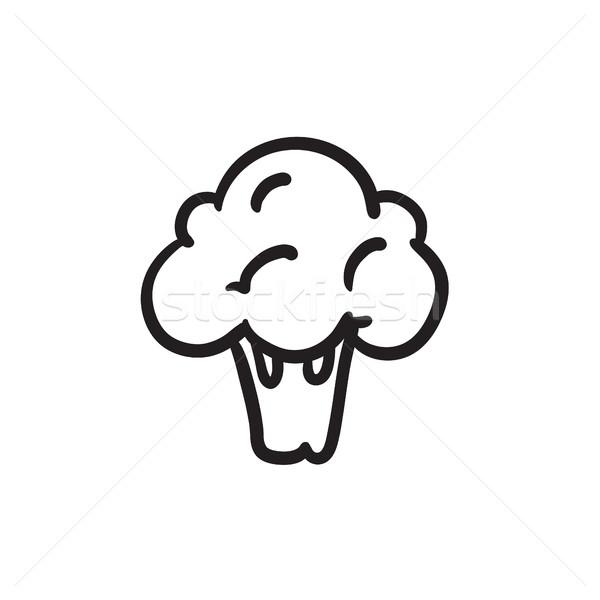 Brokkoli Skizze Symbol Vektor isoliert Hand gezeichnet Stock foto © RAStudio