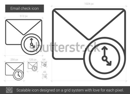 Stockfoto: E-mail · controleren · lijn · icon · vector · geïsoleerd