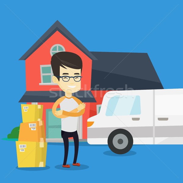 Man moving to house vector illustration. Stock photo © RAStudio