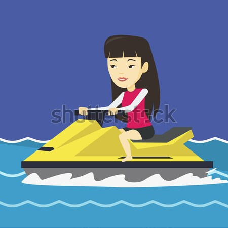 Kaukázusi nő képzés jet ski tenger derűs Stock fotó © RAStudio