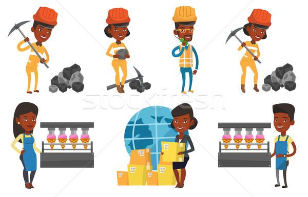 Vector set of industrial workers. Stock photo © RAStudio