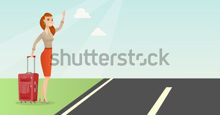 Young woman hitchhiking vector illustration. Stock photo © RAStudio