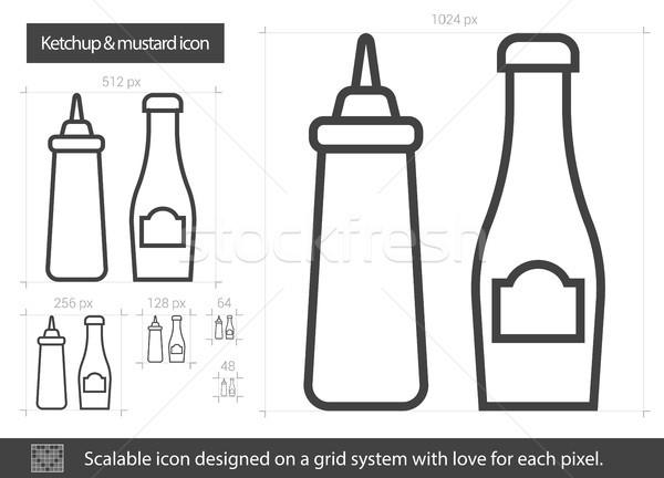 Ketchup mosterd lijn icon vector geïsoleerd Stockfoto © RAStudio