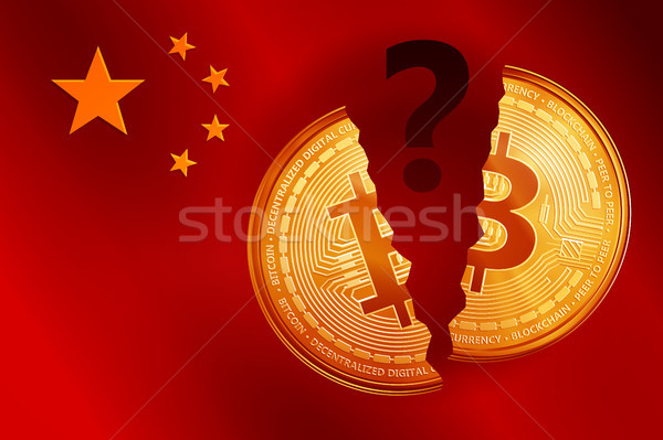 Split golden bitcoin coin symbol with question mark on the China flag. Stock photo © RAStudio