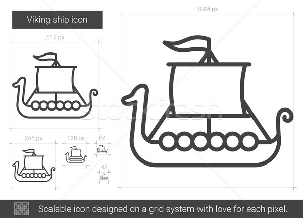 Viking ship line icon. Stock photo © RAStudio