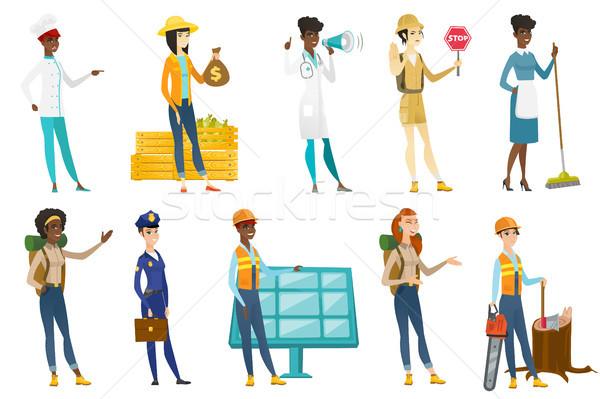 プロ 女性 ベクトル イラスト セット 職業 ストックフォト © RAStudio