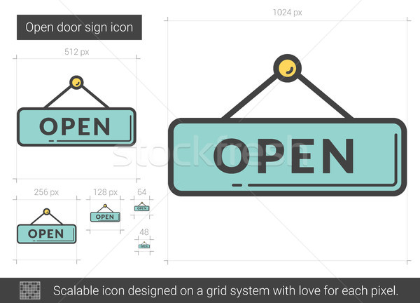 открытых дверей знак линия икона вектора изолированный Сток-фото © RAStudio