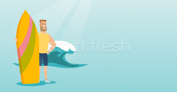 молодые кавказский Surfer доска для серфинга Сток-фото © RAStudio