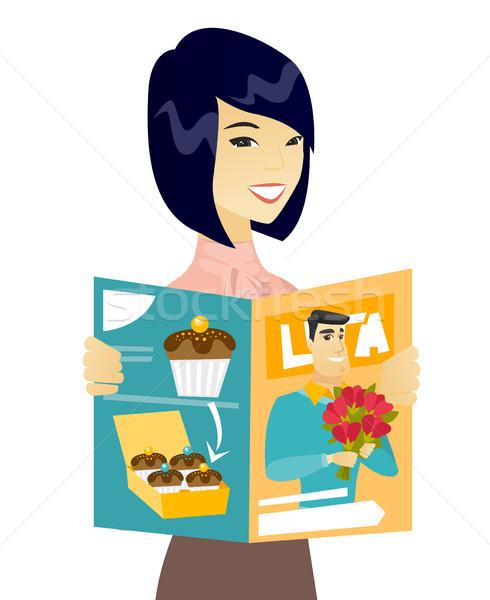 молодые азиатских деловой женщины чтение журнала успешный Сток-фото © RAStudio