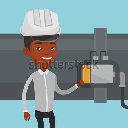 Kezelő detektor benzin csővezeték munkás olajfinomító Stock fotó © RAStudio