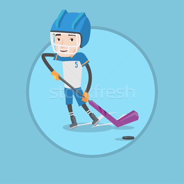 Hokej gracz młodych szczęśliwy skating Zdjęcia stock © RAStudio