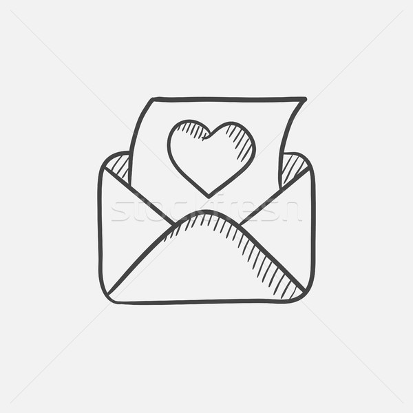 Envelope mail with heart sketch icon. Stock photo © RAStudio
