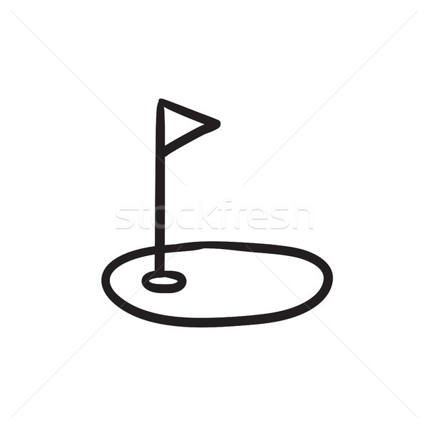 Golf hole with flag sketch icon. Stock photo © RAStudio