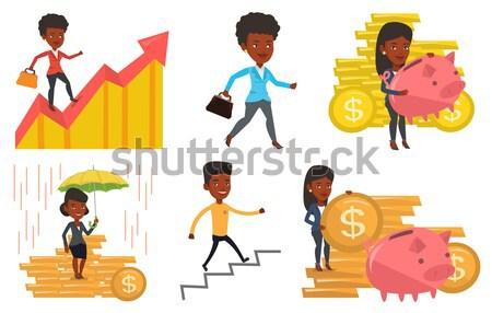 Kettő fiatal üzletasszony versenyző pénz afrikai Stock fotó © RAStudio