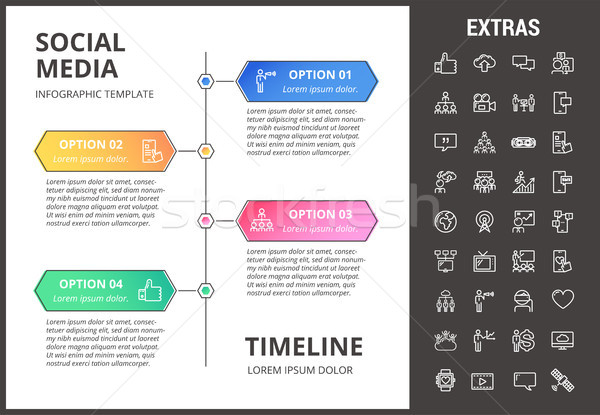 Social media infographic template, elements, icons Stock photo © RAStudio