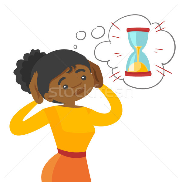 Afraid african business woman looking at hourglass Stock photo © RAStudio