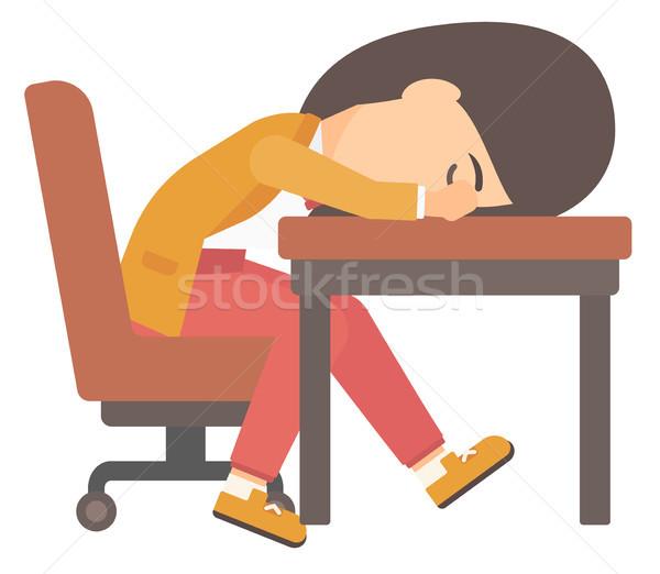 Woman sleeping on table. Stock photo © RAStudio
