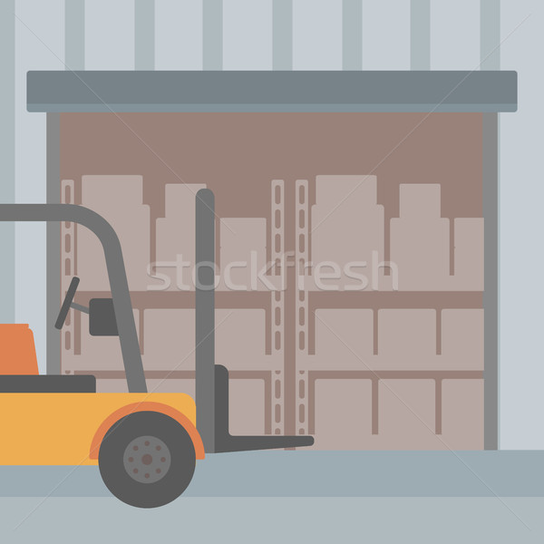 Background of forklift truck and cardboard boxes in warehouse. Stock photo © RAStudio