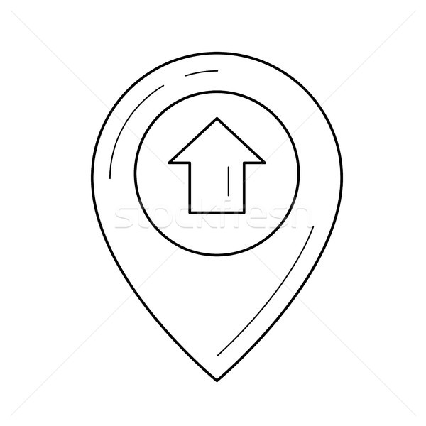 Foto stock: Localização · pin · linha · ícone · vetor · isolado