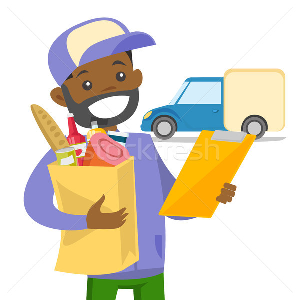 Delivery courier delivering food to customer. Stock photo © RAStudio