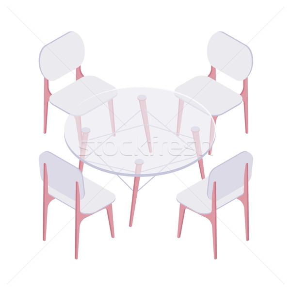 Isometric four chairs and transparent round table. Stock photo © RAStudio