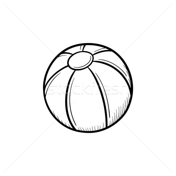 Brinquedo bola de praia rabisco ícone Foto stock © RAStudio
