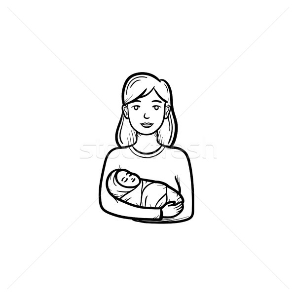 A mother with wraped baby hand drawn outline doodle icon. Stock photo © RAStudio