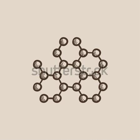 Molekularny gryzmolić ikona atomowy Zdjęcia stock © RAStudio