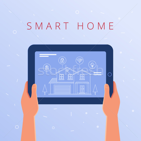 A tablet with smart home settings and controllers system. Stock photo © RAStudio